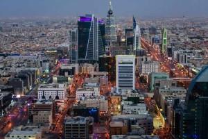 Aerial view of cityscape at night, Riyadh, Saudi Arabia